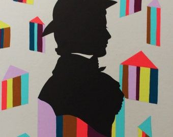 Altered Found Silhouette, Triangle Chap in a Cap, Painting Acrylic Gouache, One of a Kind Original