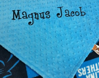 Personalized Carolina Panthers Football Fleece and Minky Baby Blanket