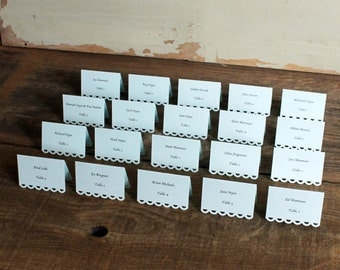 pale blue printed place cards for wedding, shower, party set of 100 cards - tallulah