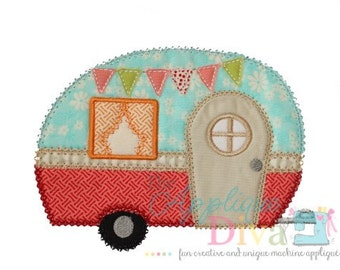 Glamping Trailer Digital Embroidery Design Machine Applique