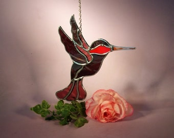Stained Glass Suncatcher Hummingbird with Ruby Throat  (536)