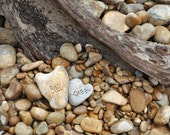 Mr & Mrs Heart Rocks Personalized Photo - Your Choice of Names carved on the rocks for a wedding anniversary gift