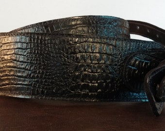 Black Gator Grain Leather Guitar Strap