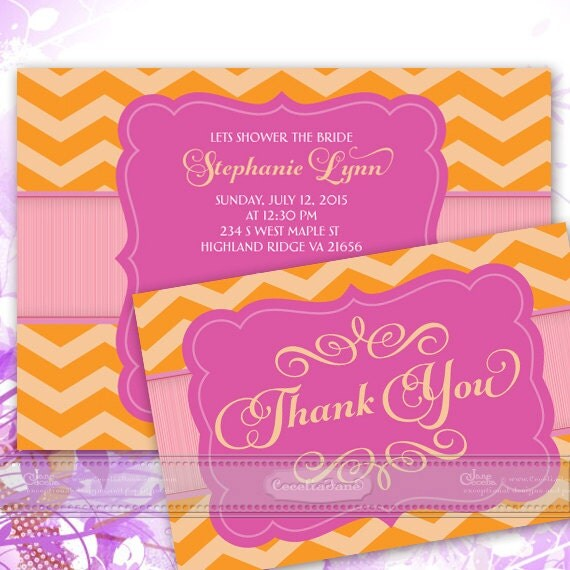 bridal shower invitations, bachelorette party invitations, hot pink bridal shower invitations, fuchsia thank you cards, IN354