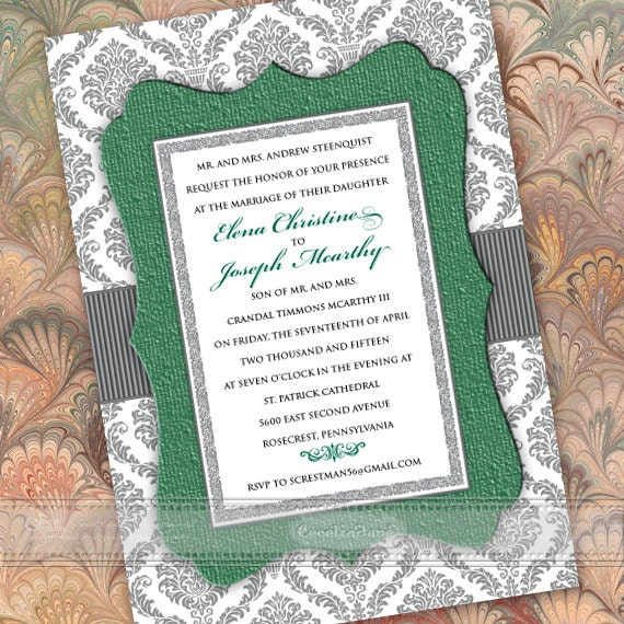 wedding invitations, silver and green wedding invitations, green wedding invitations, green wedding invitations, IN376