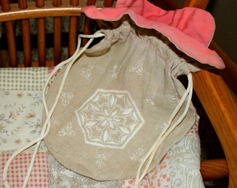 Linen Drawstring Purse, Embroidered, Lined, Handmade