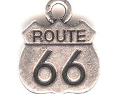 ONE - Silver Plated  Charm. Two Sided ROUTE 66 Highway Sign. Get Your Kicks.