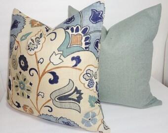 Blue Tan Floral Linen Pillow Cover Set Decorative Pillow Flower Throw Pillow Cover 18x18