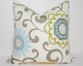Waverly Pom Pom Play Spa Pillow Cover Decorative Pillow Cover Yellow Blue Grey Size 18x18