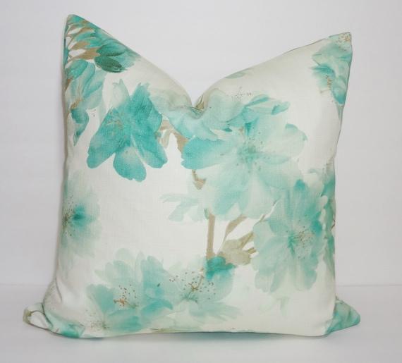 Sage Green Decorative Pillow : Decorative Sage Green Floral Pillow Cover Jade Green Flower