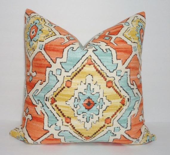 Blue Aztec Throw Pillows : Orange Blue Aztec Print Pillow Cover Decorative Pillow Cover