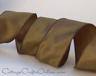 """CLEARANCE!! Wired Ribbon 1 1/2"""" wide, Moss, Brownish Green - TWO YARDS - Offray  """"Charisma"""" #348 Olive Fall Craft Wired Edge Ribbon"""