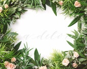 Styled Stock Photo, Flower Stock Product Photography, Floral Wreath Garland, Spray Roses, Greenery Border, Green Garland Custom Stock Photos