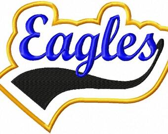 Eagles - Border - Swoosh - Applique - Satin Outline - Machine Embroidery Design - 10 sizes