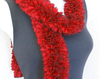 Ruffle ladder soft scarf hand knitting  red and black
