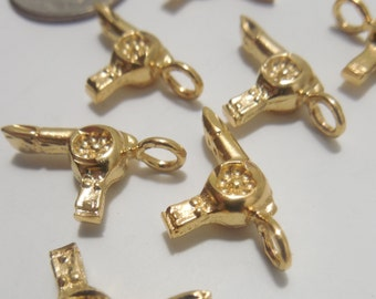 Lot of 10 Gold Plated Hair Dryer Charms/Pendants - Hair Stylist Charm/Pendant - Cosmetology Charms/Pendants, Gift Tag Charms, Party Favors