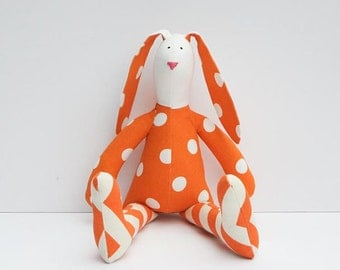 Easter bunny stuffed rabbit hare plush rabbit bunny doll orange polka dot cute softie toy gift for boy and girl