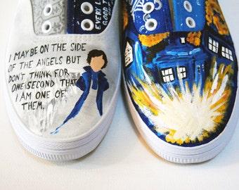 Custom Painted Fandom Shoes, Painted Shoes, Fandom Shoes, Painted Fan shoes