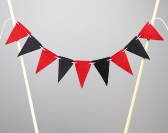 Red and Black Cake Topper Banner, Red and Black Wedding Decor, Pirate Party Decoration, Casino Party Bunting, Mini Flag Garland
