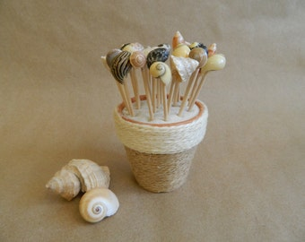 Beach Party Seashell Tooth Picks with Jute Wrapped Flower Pot Party favor Beach Wedding