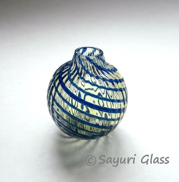 Mini Vase - assorted blue stripe : DISASTER RELIEF