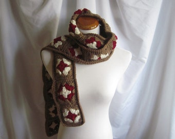 Granny Square Scarf Crochet - Brown, Burgundy Wine and Off White