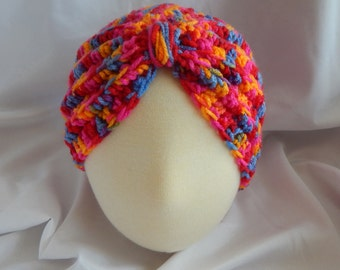 Baby Turban Hat Crochet in Bright Pink, Blue & Red - 3 to 6 Months - Makes a Great Photo Prop