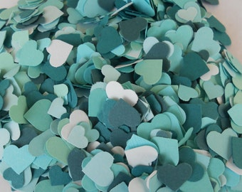 Over 2000 Mini Confetti Hearts. Shades of Teal. Weddings, Showers, Decorations. ANY COLOR Available.