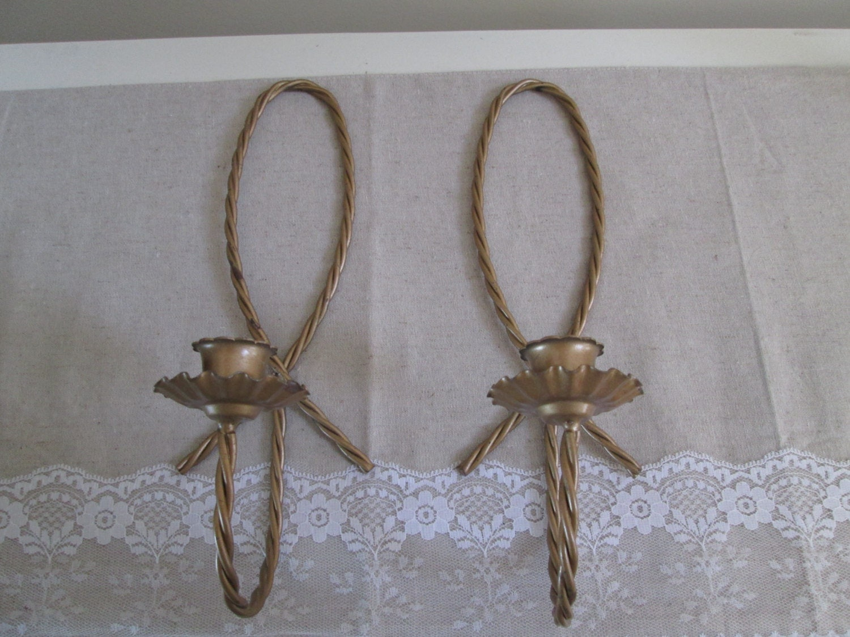 Metal wall sconces vintage gold taper candle holders vintage