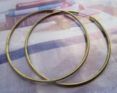 Vintage XL Raw Brass Hoop Earrings 6Prs. Stainless Steel Ear Wires
