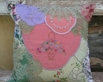 Pretty Patchwork Doiley Cushion