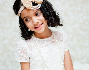 Flower girls Biege gold headband. Forehead bohemian halo- girls beige headband Wedding, bridesmaid.Princess headband. mdw-0035