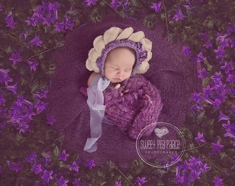 new born flower bonnet,up cycled bonnet photo prop