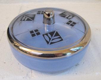 Vintage Art Deco Blue Glass Powder Box