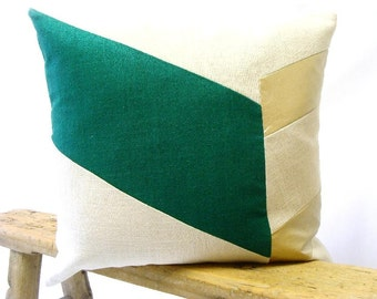 Color Block Chevron Pillow Cover/Emerald/Metallic Gold/Cream/Modern/Minimalistic/Accent Pillow/New Collection/Zigazag Studio Design