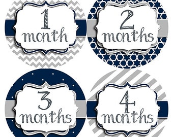 FREE GIFT, Navy Gray Baby Boy Month Stickers, Monthly Baby Stickers, Baby Belly Stickers, Belly to Baby, Chevron, Stripes, Grey, Neutral