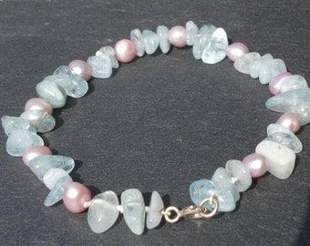 Pink Pearl and Aquamarine Bracelet