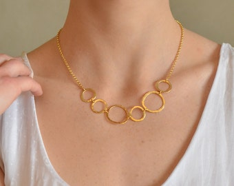 Gold Delicate Necklace, delicate gold necklace, gold necklace, hoops necklace, bridal necklace, wedding jewelry