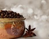 Coffee beans with bokeh, Coffee photograph, Coffee love, neutral brown, Kitchen decor, Coffee shop art