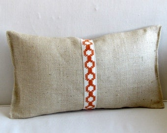 BURLAP PILLOW 12x20 orange and white jute trim