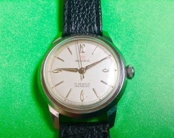 Men's ACCRO watch Mechanical Swiss 1960s mens classic vintage watch dress wrist watch