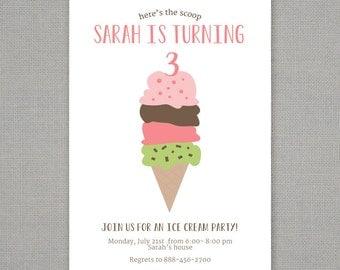 Ice Cream Cone Birthday Party Invitation