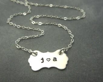 Vintage inspired plaque shape hand stamped sterling silver necklace