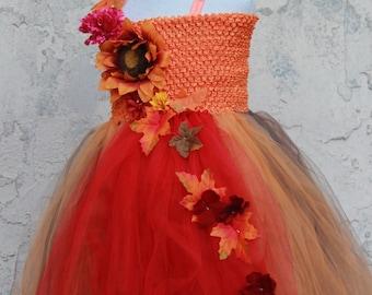 Fall Tutu Dress - Fall Flower Girl Dress -  Autumn Dress Fall Wedding - Autumn Tutu Dress - Red Orange Dress - Flower girl for fall wedding