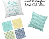 "Custom Throw Pillow - Baby Name and Birth Stats - Personalized Tribal Herringbone Pillow- 16"" X 16"""