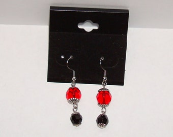 Clearance!  Red & Black Glass Crystal Bead Earrings