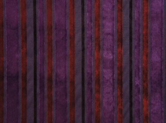 60 Wide Marriott Plum Striped Velvet Upholstery Drapery