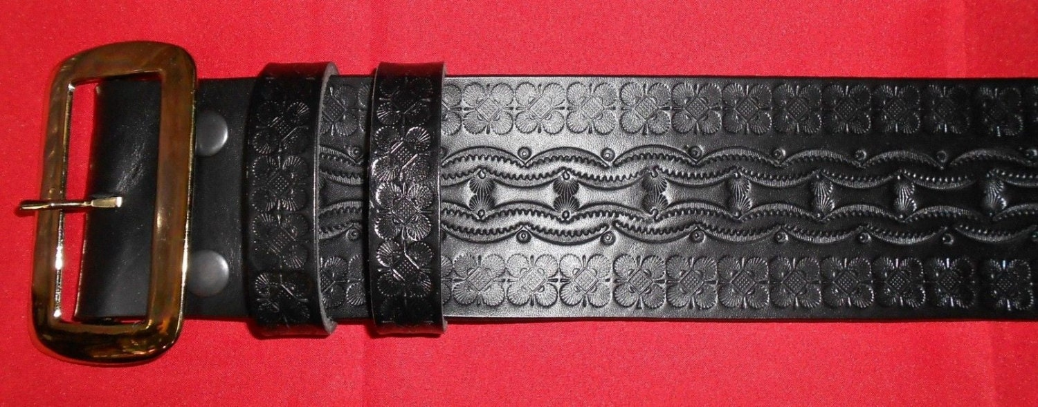 tooled santa claus belt and buckle solid leather high