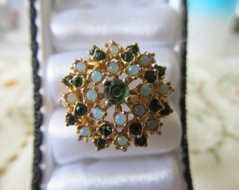 Vintage Green Rhinestone and Faux Opal Filigree Ring
