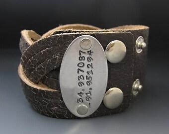 Hand Stamped Custom Leather Cuff Bracelet
